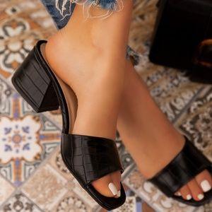 Croc Low Block Mule Heel